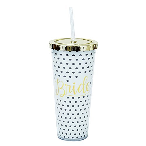 Mary Square Bride Polka-Dot 24oz Straw Tumbler Bride ()