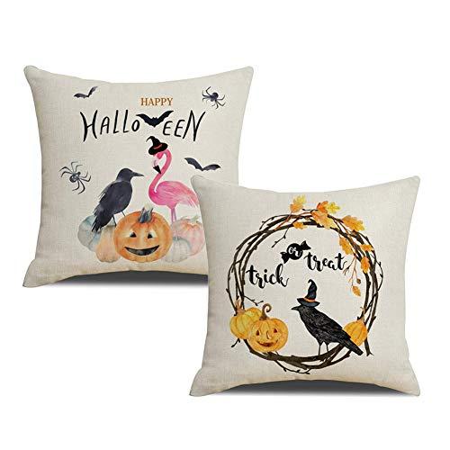 KACOPOL Happy Halloween Pumpkin Crow & Flamingo Throw Pillow Covers Cotton Linen Autumn Harvest Season Halloween Thanksgiving Day Décor Pillow Case Cushion Cover 18