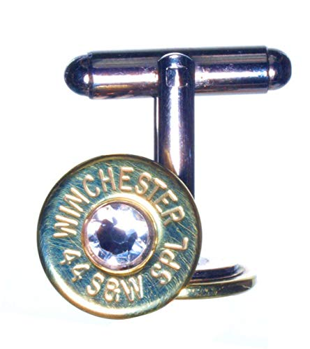 WhatsYourCaliber.com 44 Special Brass Cuff Links with Swarovski Crystals- Clear (Winchester)