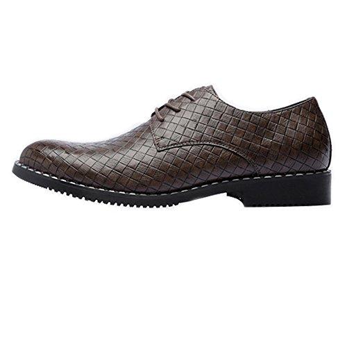 Chaussures en Cuir PU pour Hommes Carrée Texture Supérieure à Lacets Respirant Business Low Doublés Oxfords Chaussures de Sport en Cuir pour Hommes Brown LGQAYk