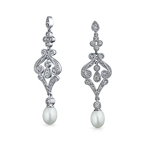 Bling Jewelry CZ Freshwater Cultured Pearl Chandelier Earrings Rhodium Plated Brass - Freshwater Pearl Chandelier Earrings