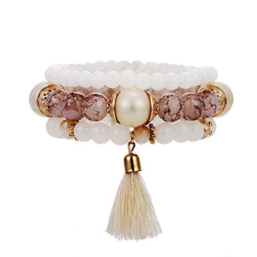 VONRU Boho Bead Stackable Bracelets for Women - Vintage Multi Layer Colorful Beads Bracelets Bohemian Anklets Charm Birthstone Yoga Chain Stretch Beach Bangle (White Bead Tassel Bracelet) ()