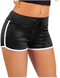 Women's Elastic Waist White Outline Active Lounge Shorts