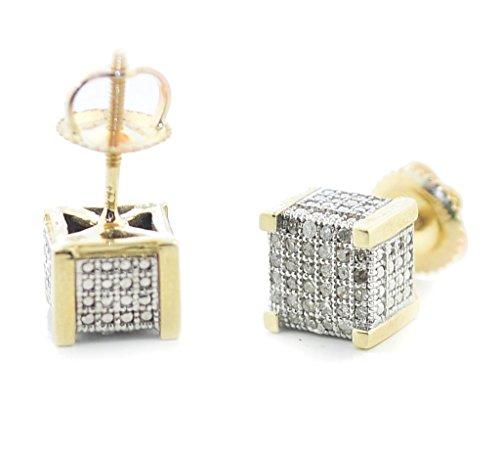 10K Gold Mens Diamond Fashion Earrings Cubes 3D Style Pave Set 1/5ctw Screw on Backs 7mm (i2/i3, I/j) (Kc Designs Diamond Stud)