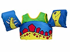 Body glove paddle PALS child swim vest is a learn-to-swim aid with arm bands construction for beginners in the water with quick-release buckles with adjustable webbing for safety and Great fit. Back buckle entry makes Donning fast and keeps c...