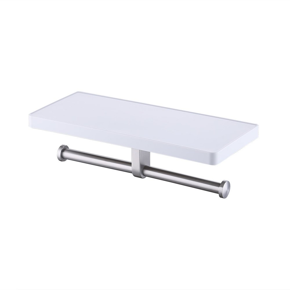 KES Bathroom Toilet Paper Double Roll Holder with Storage Shelf Organizer Brushed SUS 304 Stainless Steel and White Acrylic, BPH602S2-2