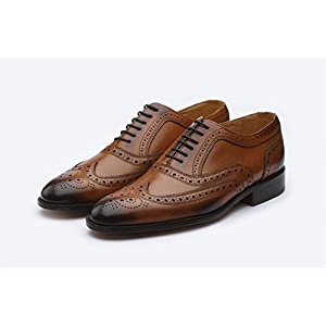 3DM Lifestyle Handcrafted Men's Genuine Leather Classic Brogue Oxford Wing-Tip Lace Up Leather Lined Perforated Dress Oxfords Shoes