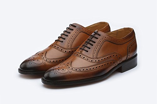 Men's Modern Dress Shoes Wing Tip Lace Up Leather Lined Perforated Oxfords Shoes