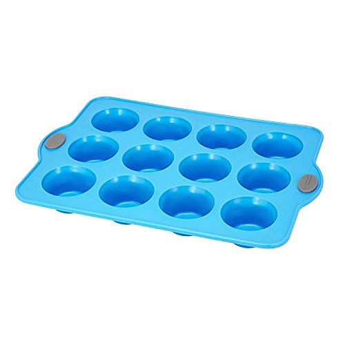 Crystal Bake SteelRim Silicone Muffin & Cupcake Baking Pan - 12 Cup - Blue (Kitchen Non Stick Pan Of Crystal)