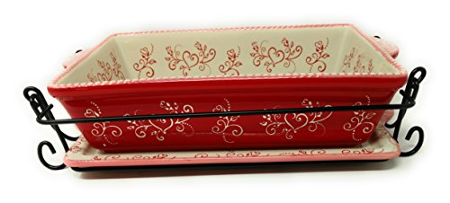 Temp-tations Baker 2.5 Qt 11 inchx7 inch Casserole Dish w/3 Accessories (Floral Lace Romance)