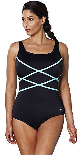 Aquabelle Women's Plus Size Xtra Life Lycra Mint Cross Tank Swimsuit 24 Black