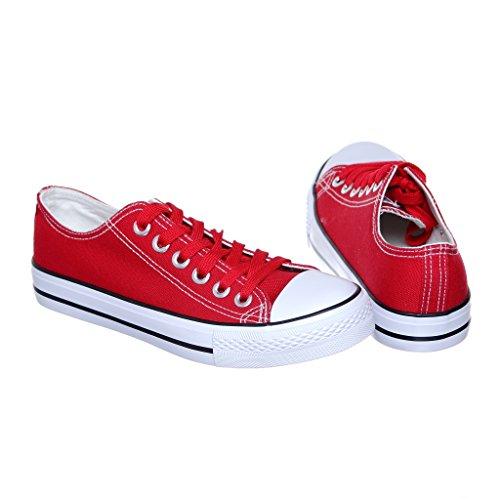 NEW STYLE!! Womens Classic Canvas Skate Sneaker Best Seller Red SFCqL