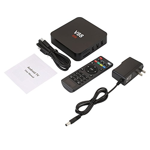 Lcd Tv Vcr Dvd Combo (Auntwhale Media Smart TV BOX Support WiFi 1080P 4K Android 6.0 Free Keyboard 1GB/RAM+8GB/ROM External Cards Web Applications - 11 × 11 × 1.5cm - Black)