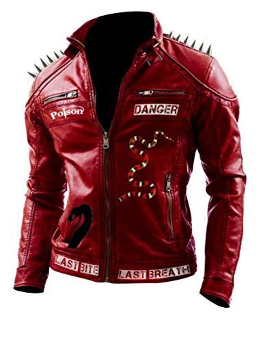 Studded Spikes Mens Danger Last Venomous Bite Biker Last Breath Leather Jacket ()
