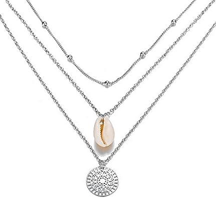 Qiiueen💦Collares Mujer,Perlas De Múltiples Capas Simples, Colgante De Círculo De Concha, Collar De Metal, Joyería para Damas: Amazon.es: Joyería