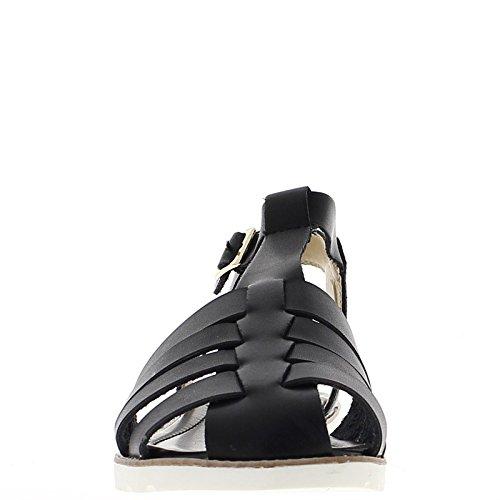 Sandalias negras con pequeño grueso tacon 3,5 cm con diamantes de imitación