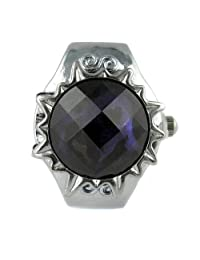 MapofBeauty Round Faceted Crystal Inlay Hunter Case Quartz Finger Ring Watch (Dark Blue)