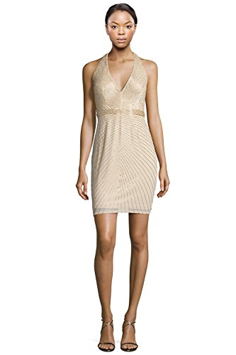 Aidan Mattox V-Neck Beaded Halter Cocktail Evening Dress