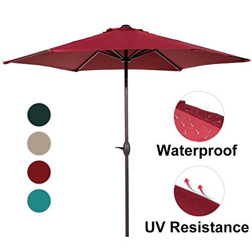 Superieur Abba Patio 9 Ft Market Outdoor Aluminum Table Patio Umbrella With Push  Button Tilt And Crank, Red