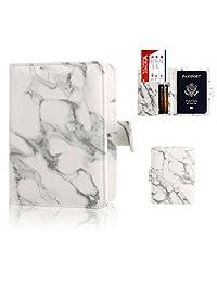 Passport Holder Cover Case - Ratesell Marble Design Pu Leather RFID Blocking for Women Men Gray