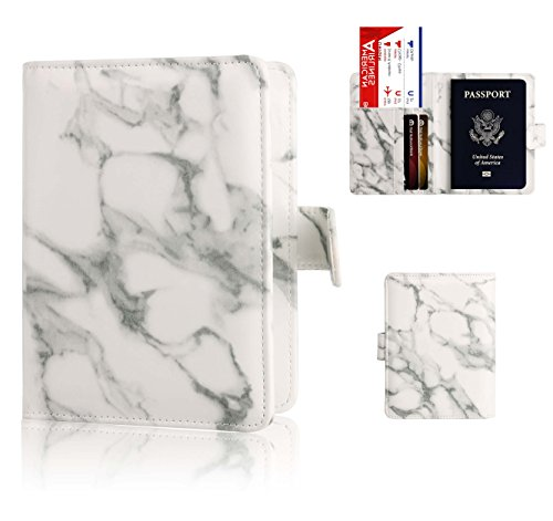Passport Holder Cover Case - Ratesell Marble Design Pu Leather RFID Blocking for Women Men Gray (Passport Cover For Women)
