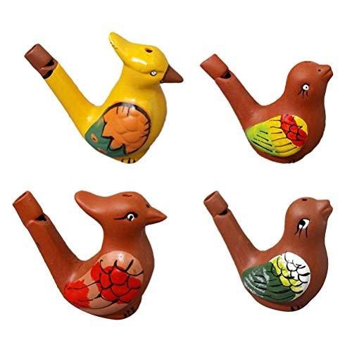 Tuersuer - Silbato de pájaro de agua para decoración de bodas, festivales, fiestas, 4 unidades, diseño de animador de...