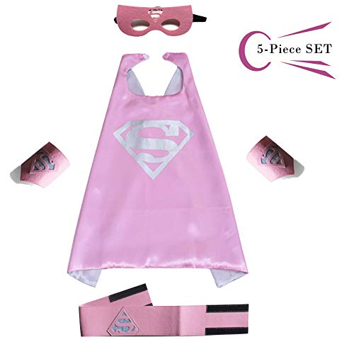 Superhero Dress Capes Set for Kids - Child DIY Superhero Themed Birthday Halloween Party Dress up 5-Pack Set (Superman)