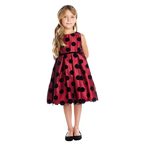 Sweet Kids Big Girls Red Black Polka Dot Flocked Mesh Christmas Dress 10