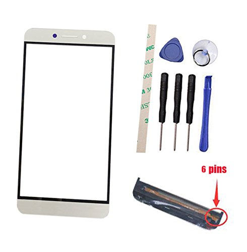 Outer Screen Front Glass Lens Replacement For Letv LeEco Le S3 X626 X622 (Not digitizer touch screen) with keypad sensor flex cable (white, 6 pins)