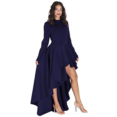 Clearance! Long Sleeve Swing Dress,Women Solid Irregular Ruffle High Low Hem Maxi Dresses (XXL, Dark Blue) by Leewos