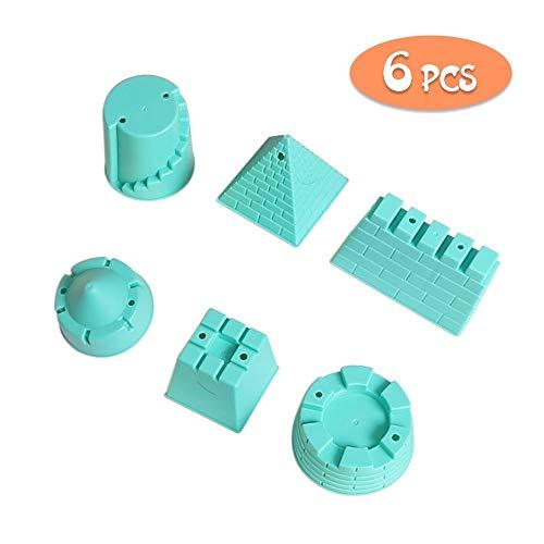 CESHMD Kinder Junge Mädchen Strandspielzeug, Mini Sandburgen Formen Sandspielzeug Set mit wiederverwendbarer Netzbeutel (Sandburgenformen 6-teiliges)