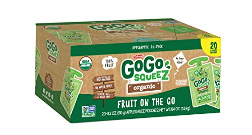 GoGo squeeZ Organic Applesauce on the Go, Apple Apple, 3.2 Ounce (20 Pouches), Gluten Free, Vegan Friendly, Healthy Snacks, Unsweetened, Recloseable, BPA Free Pouches