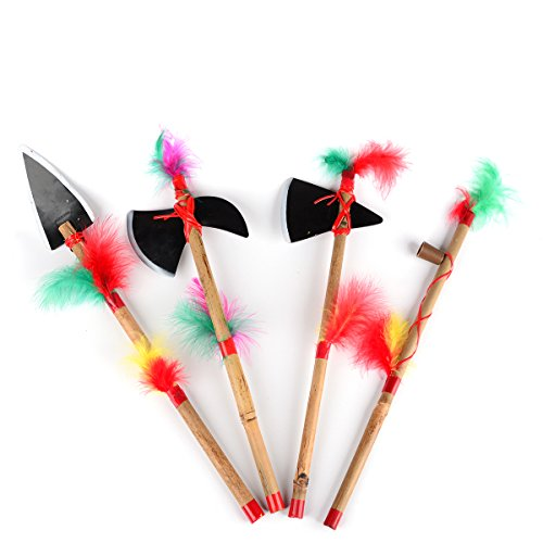 - Amosfun 4 Pcs Indian Costume Props For Halloween Party Christmas Birthday Gift for Children (Indian Axe + Indian Cone + Indian Spear + Indian Pipe)