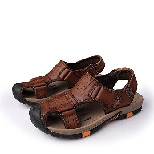 Männer - Sommer - Sandalen, Komfort, Mode, Lässig, Leder, Schuhe Baotou Strand,Braun,Eu42
