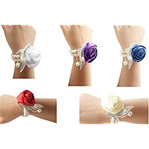 he andi Fashion Wedding Bridesmaid Wrist Flower Corsage Party Hand Flower Decor with Faux Pearl Bead Wristband (2PC) 78