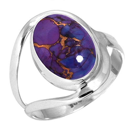 Copper Purple Turquoise Ring 925 Sterling Silver Handmade Jewelry Size 9 (Purple Turquoise Jewelry)