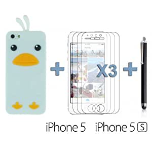 OnlineBestDigital - Chick Style Soft Silicone Case for Apple iPhone 5S / Apple iPhone 5 - White with 3 Screen Protectors and Stylus
