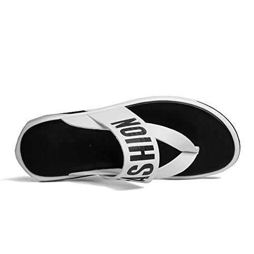 Juans Zapatillas Zapatos Casual Size White Antideslizantes Black Hombres 38 Sandalias Chancletas EU Beach para Thong Genuino Color de Hombre shoes Cuero 1q1w5Azr