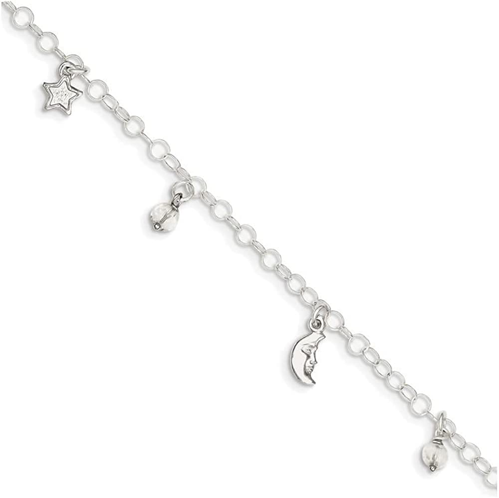Finejewelers Sterling Silver Polished Heart W// 1in Ext Anklet