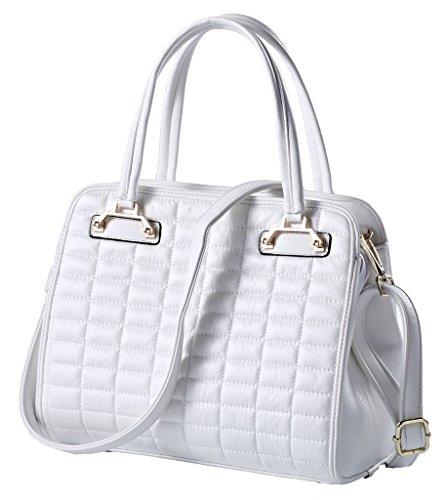 "11"" Women Vintage Leather Shoulder Handbags Top-handle Tote White Top-handle-handbagsa4"