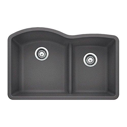 blanco 441591 diamond 175 low divide under mount double bowl kitchen sink large cinder - Amazon Kitchen Sinks