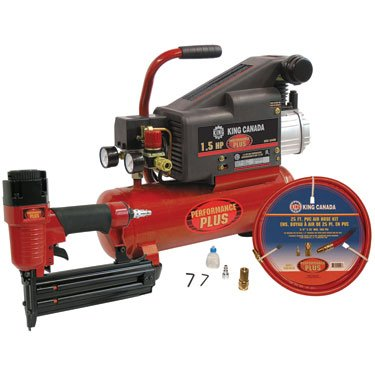 King Canada 8449N/8200NH25 1.5 HP Air Compressor (8449N) and 2-Inch Brad Nailer (8200N) Combo Kit