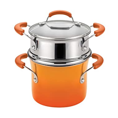 Rachael Ray Hard Enamel Nonstick 3-Quart Covered Steamer Set, Orange Gradient