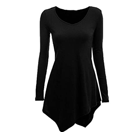 Comfy Womens Sweetheart Neck High Low Hem Long Sleeve Top Blouse Black L - Sweetheart Neck Top