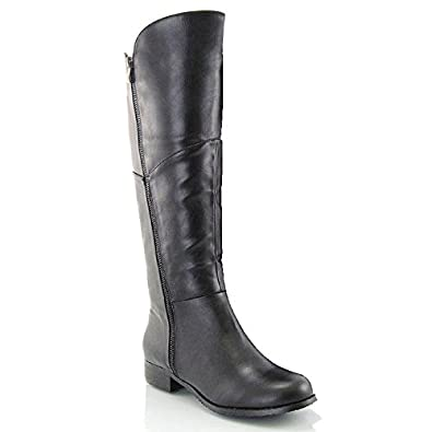 c89863112ed ESSEX GLAM LADIES KNEE HIGH FLAT LEATHER STYLE LOW HEEL CALF WOMENS ZIP  BIKER RIDING BOOTS SIZE  Amazon.co.uk  Shoes   Bags