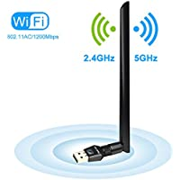 1200Mbps Wireless USB Wifi Adapter, FayTun USB Wifi Adapter,AC1200 Dual Band 2.4GHz/300Mbps+5GHz/867Mbps,802.11 ac/a/b/g/n 5 dBi High Gain Antenna, USB Wi-Fi Dongle for Windows XP/7/8/10,MAC,OSX/Linux