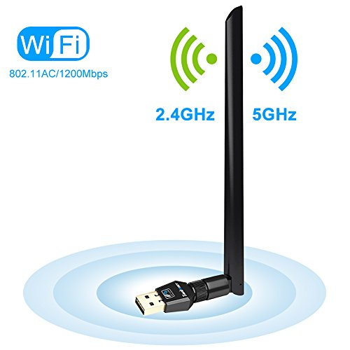 1200Mbps Wireless USB Wifi Adapter, FayTun USB Wifi Adapter,AC1200 Dual Band 2.4GHz/300Mbps+5GHz/867Mbps,802.11 ac/a/b/g/n 5 dBi High Gain Antenna, USB Wi-Fi Dongle for Windows XP/7/8/10,MAC,OSX