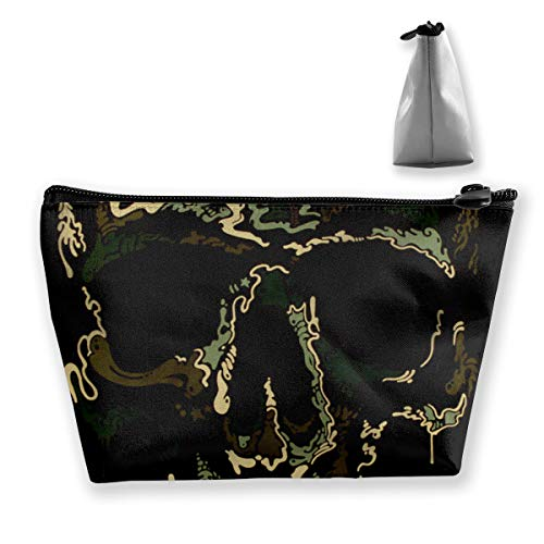 FJSLIE Camo Army Skull Pirate Women Cosmetic Bags Multi Function Toiletry Organizer Bags,Hand Portable Pouch Travel Wash Storage Capacity with Zipper(Trapezoidal)