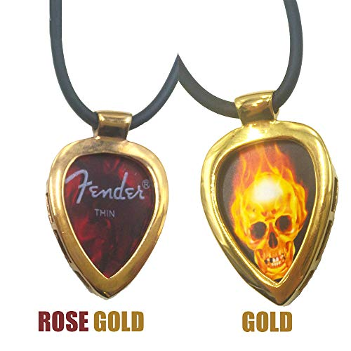 Golecha Guitar Pick Holder Pendant Necklace Stainless Steel Ball Chain Necklace & Pick Set (Rose Gold)