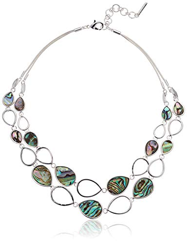 Nine West Women's Silver Abalone 2 Row Frontal Necklace